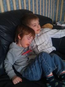 Brotherly cuddles