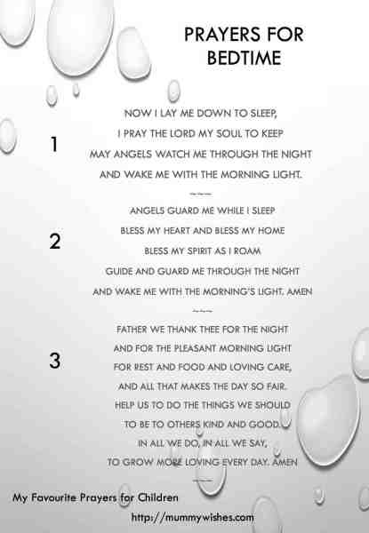 Children's prayer for bedtime