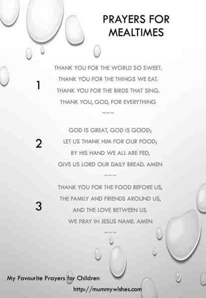 Children's prayer for mealtimes