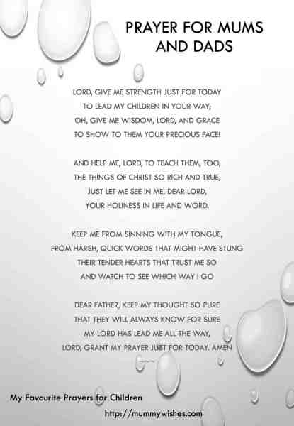 Children's prayer for Mum and Dad