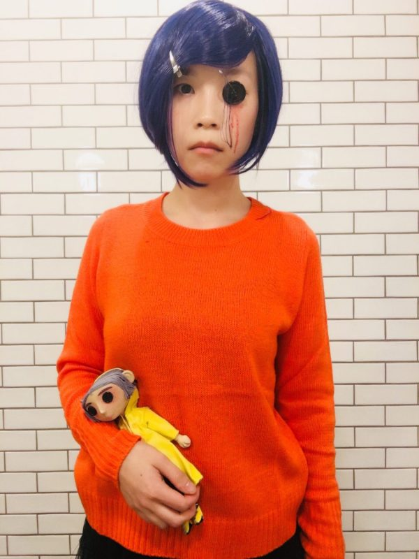 Trying the straight face Coraline Halloween look