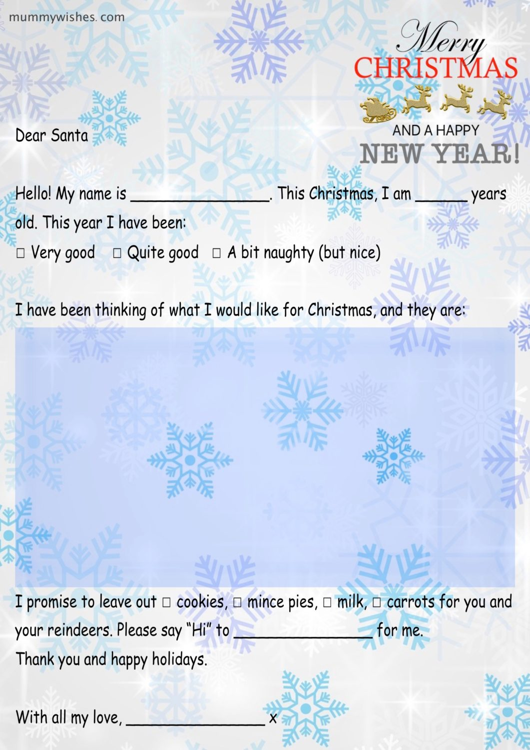 Free Printable Letter To Santa  Mummy Wishes