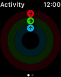 Activity ring chart shows progress
