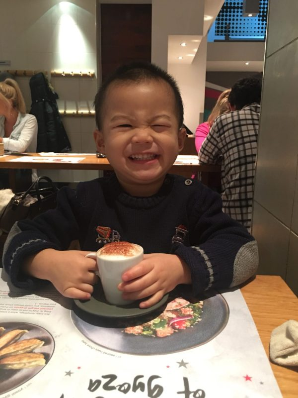 Well chuffed with his own babyccino
