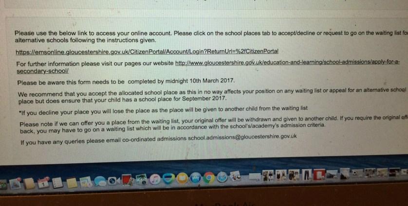 Secondary school offer, Grammar school, Daughter, 365