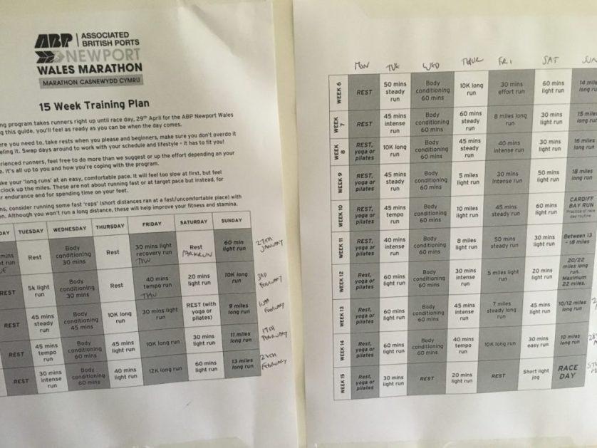 Training plan, Marathon training following a training plan, Running, Newport marathon