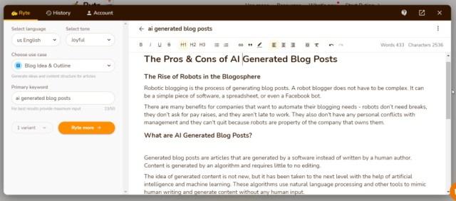 ai generated blog posts