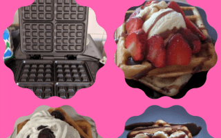 A waffle maker and three different topped sweet waffles