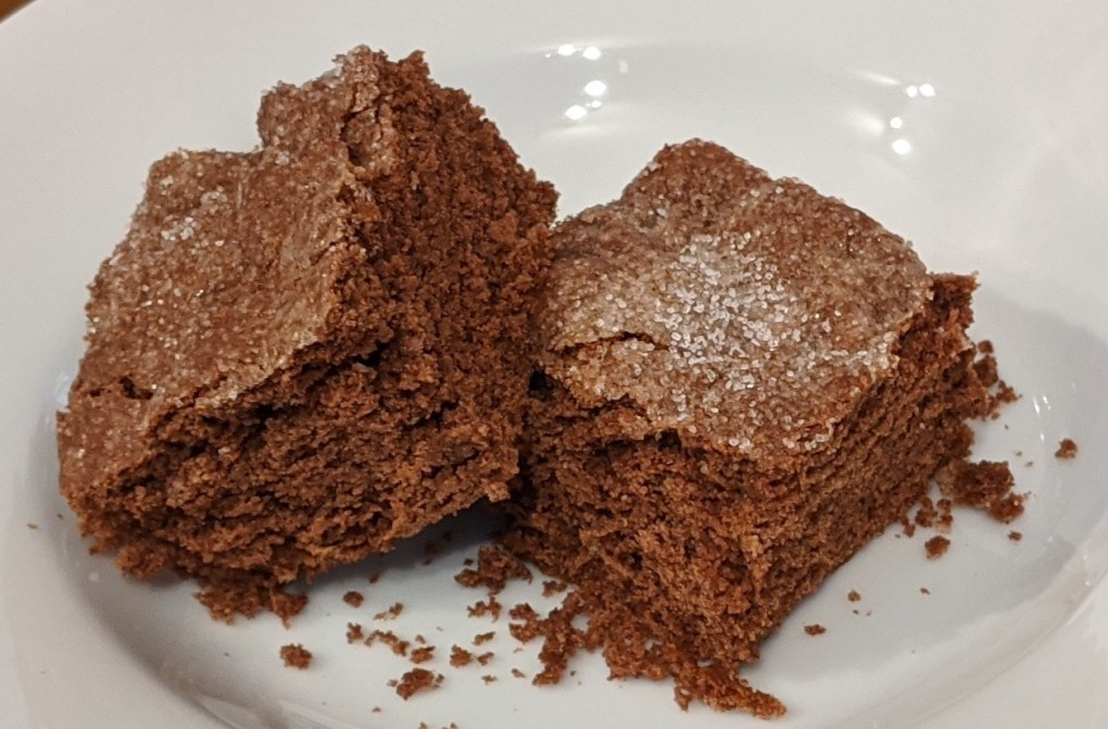 Two small squares of chocolate crunch