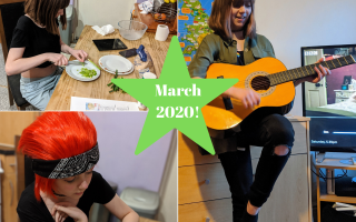 Three images from March. One of Faith in cosplay doing a journal. One of Faith cutting spring onions while baking soda bread and one of Faith playing a guitar