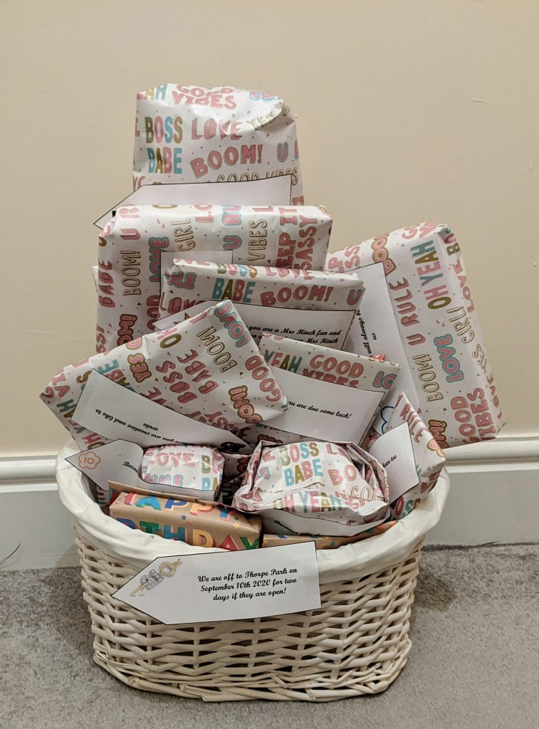 21st birthday bundle of presents in a gift hamper