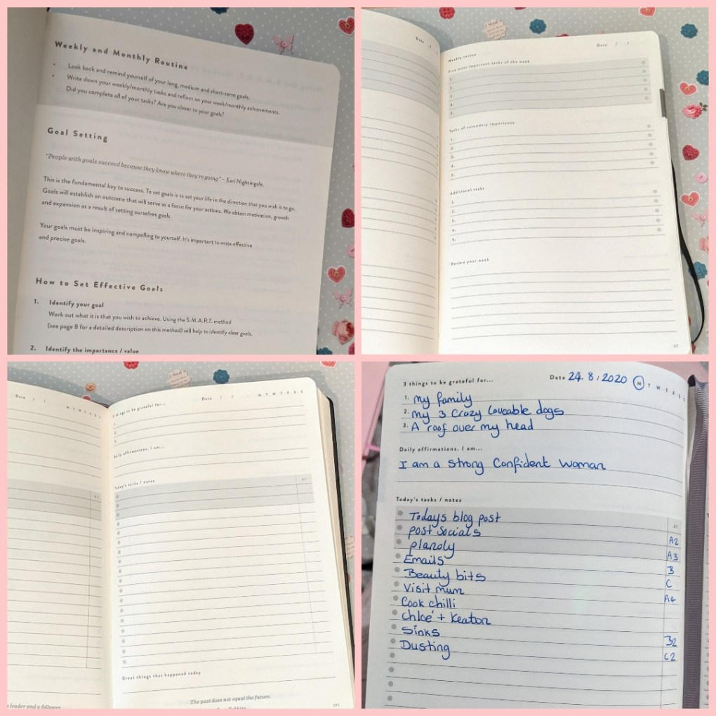 Four pic grid showing pages from the daily goal setter planner