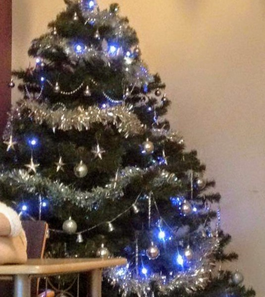 A decorated tree with silver and blue decorations