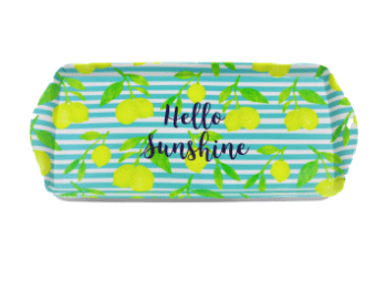 light blue and green silicone tray with a pattern of lemons
