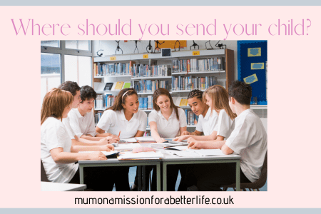 Boys and girls sitting around a table in secondary school