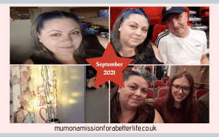 Four images. Top right - Close up of a ladies face (me). Top left - Man and woman (me and Darren) sitting in cinema seats. Bottom left - lights and twigs in a vase. Bottom right - Mother and daughter (me and Lauren) at a John Courtney show.