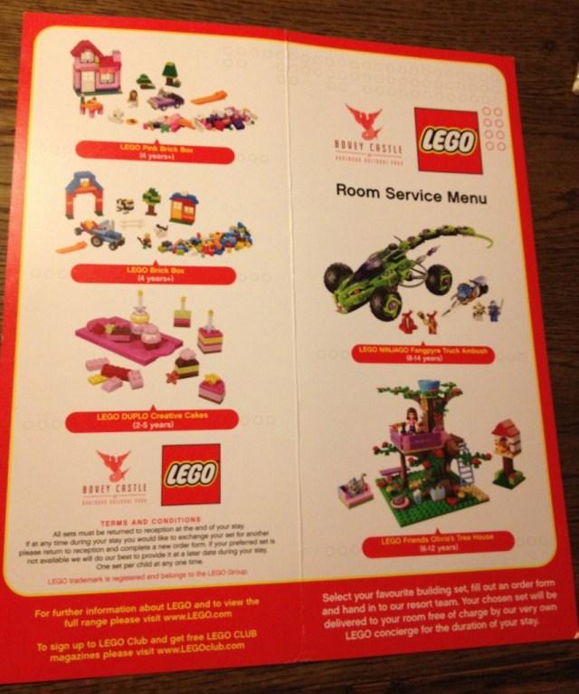 LEGO room service menu, Bovey Castle