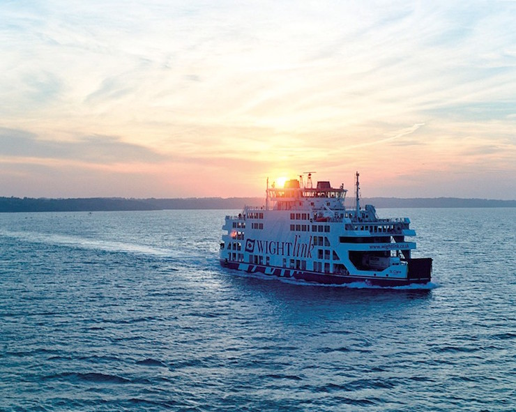 Isle of Wight ferry at sunset. Image cortesy of Toursim South East