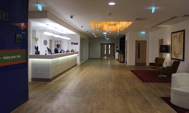 Reception at Gatwick Hampton by Hilton hotel. Copyright Gretta Schifano