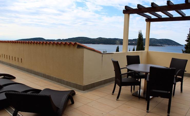 Sea view terrace at Dubrovnik Sun Gardens. Copyright Gretta Schifano
