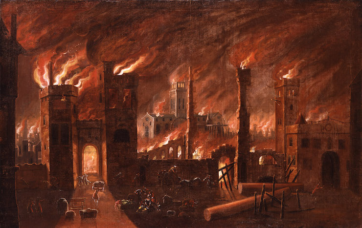 Oil painting of the Great Fire of London, seen from Ludgate (c) Museum of London