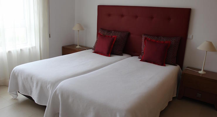 Bedroom, Praia D'el Rey apartment, Portugal. Copyright Gretta Schifano