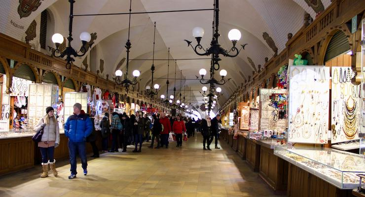 Shopping in Kraków's Cloth Hall. Copyright Gretta Schifano