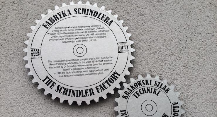 Sign outside Oskar Schindler's Factory, Kraków. Copyright Gretta Schifano