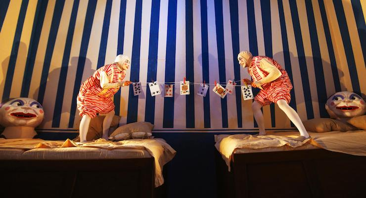 ADVENTURES IN WONDERLAND. Gareth Tempest and Angelina Reilly (Tweedle Dum and Tweedle Dee). Photo by Jason Joyce