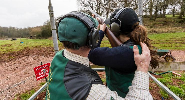 Clay pigeon shooting, Forest of Dean. Copyright David Broadbent