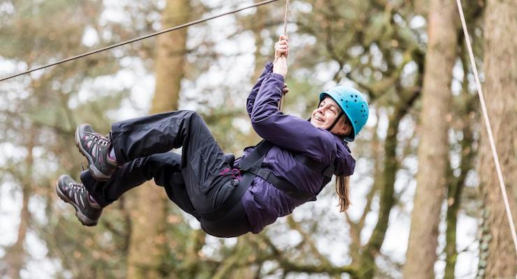 Gretta Schifano failing the high ball challenge, Forest of Dean. Copyright David Broadbent
