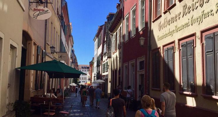 Street in Heidelberg old town, Germany. Copyright Jane Welton
