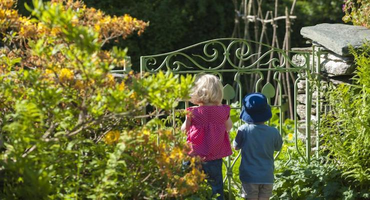 Children in the garden at Hill Top, Near Sawrey, Lake District. ©National Trust Images:Paul Harris