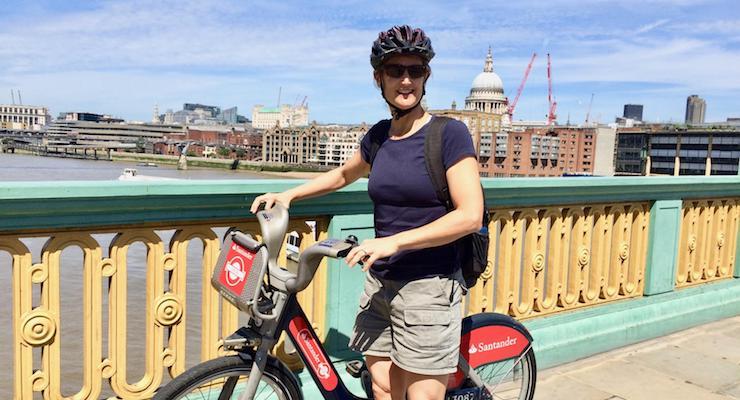 Anne Usher cycing in London. Copyright Gretta Schifano