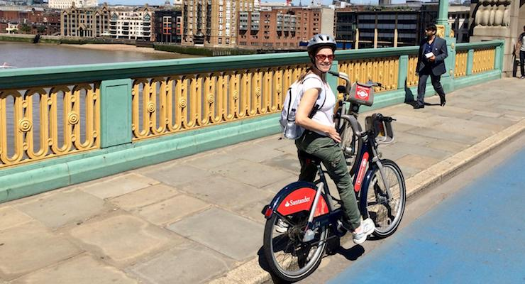 Gretta Schifano cycling in London. Copyright Anne Usher