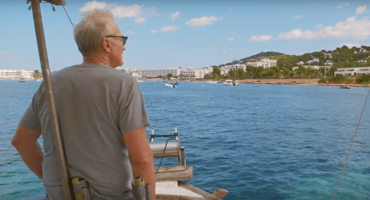 Larry Lamb on a boat trip. Copyright Thomson Cruises