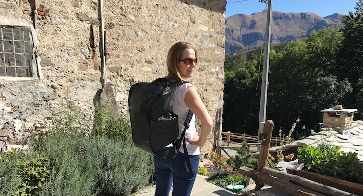 Gretta Schifano in the Italian alps with Booq Daypack. Copyright Sal Schifano