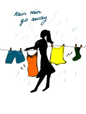 Woman Doing Laundry Cartoon