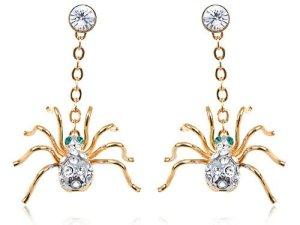 Petite Golden Creepy Swarovski Elements Crystal Rhinestone Spider Drop Earrings