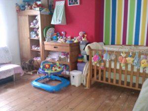 Nursery, stripey walls, bright nursery, nursery ideas