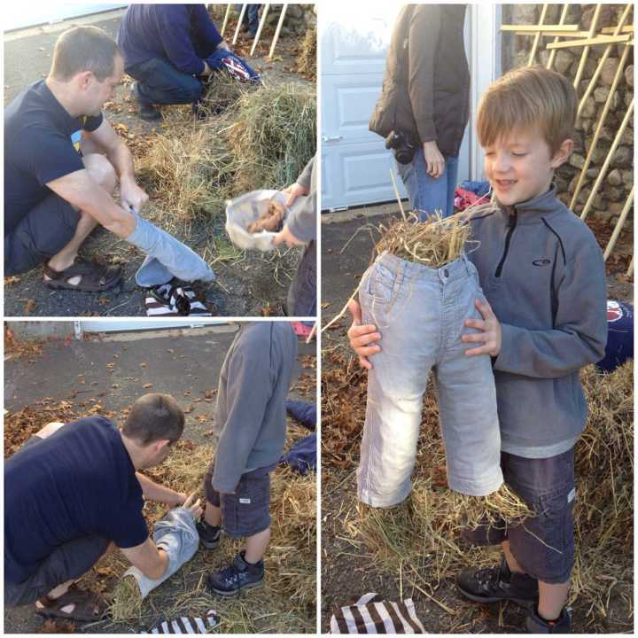 How to make a scarecrow 1 - filling the legs