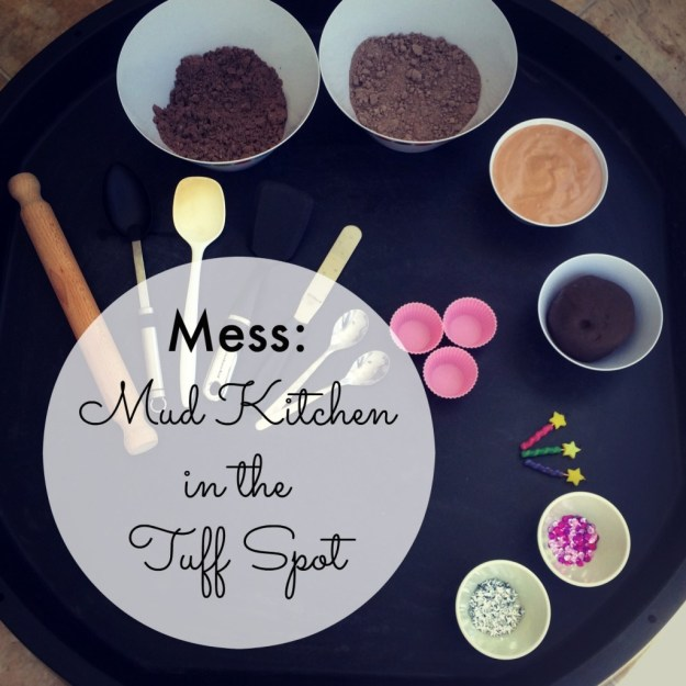 Mud Kitchen in the Tuff Spot with four different muds; fluffy stuff, dirt dough, shaving foam and playdough; all chocolate scented