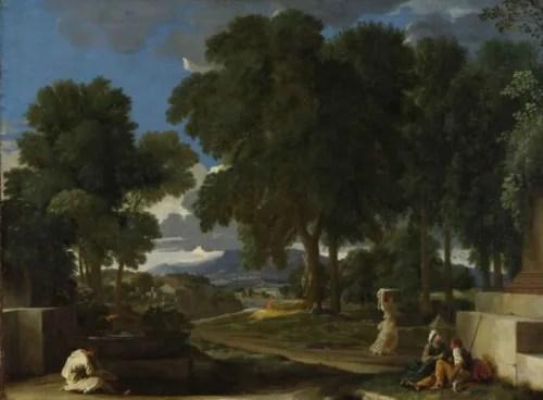 二コラ・プッサン 《泉で足を洗う男のいる風景》 1648年頃