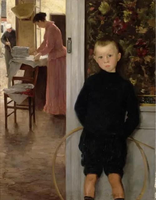 ポール・マティ-室内の子どもと女性
