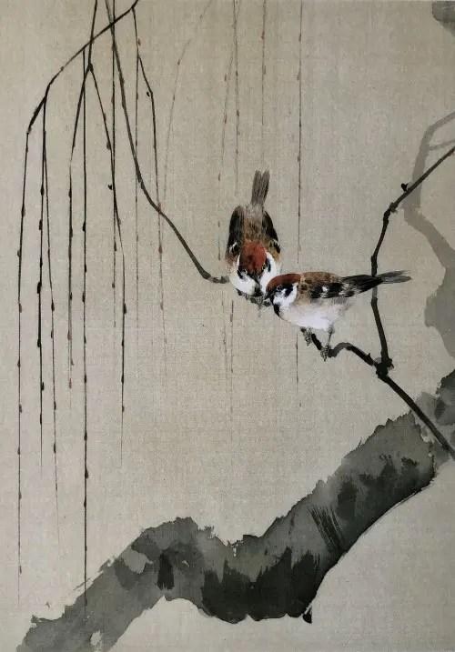 渡辺省亭-《柳に雀図》