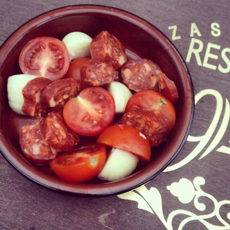 Tapas - chorizo, garlic & tomatoes