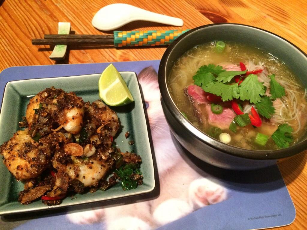 Salt&pepper prawns & beef noodle soup
