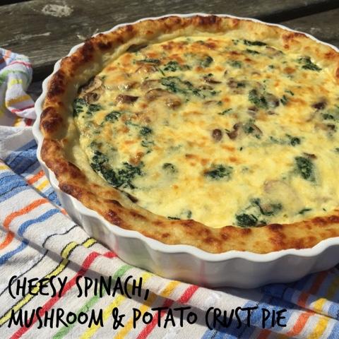 cheesy spinach, mushroom & potato crust pie