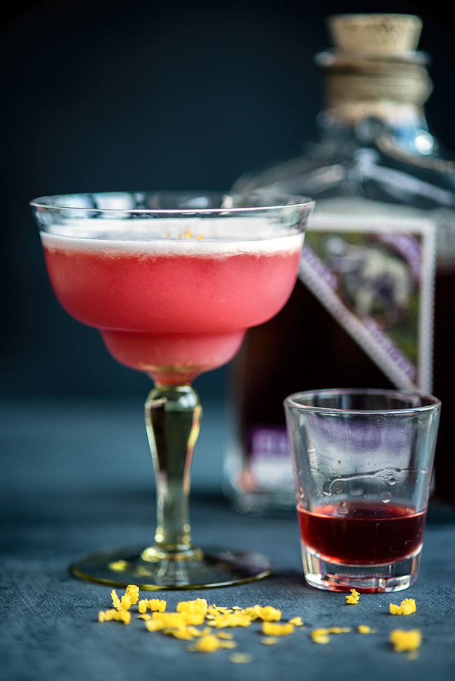 Pink Lady Sloe gin cocktail