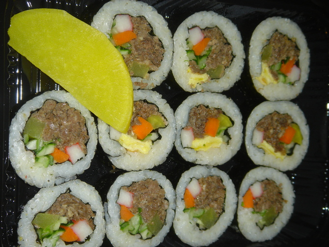 My Beef KimBap (contains beef, carrot, yellow radish, cucumber, egg). I loved these since I first ate them at Chwis's house. Delicious as WooRiJip's beef kimbap are, they're still no match for Chwis's mom's. No matter, I devoured these in delight!